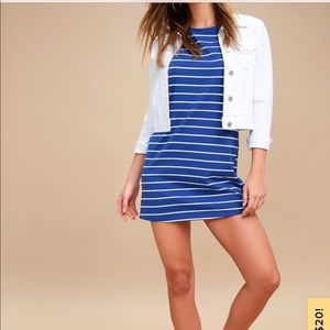 Lulus cafe society blue strip shirt dress
